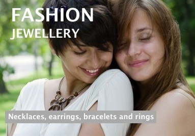 Fashion jewellery including necklaces, earrings, bracelets and rings